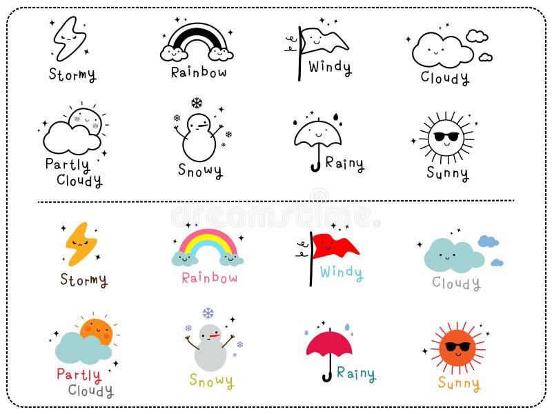Leuke weerpictogrammen, overzicht en kleurrijk leuk pictogram vector illustratie