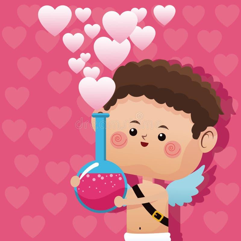Leuke weinig van de de dagliefde van de cupidovalentijnskaart drankje roze harten vector illustratie