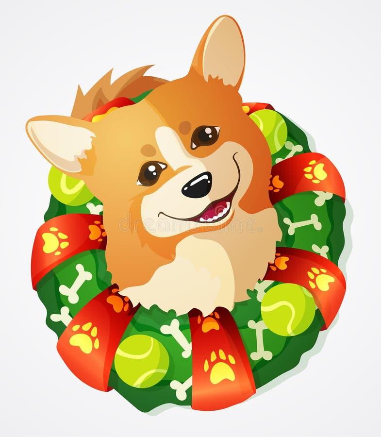 Leuke Welse Corgi-hond en Kerstmiskroon, beeldverhaalillustratie vector illustratie