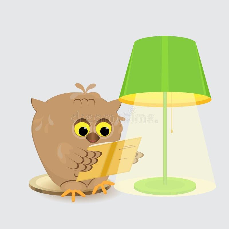 Leuke wijze uilzitting bij de lamp met een lampekap en een lezing a royalty-vrije illustratie