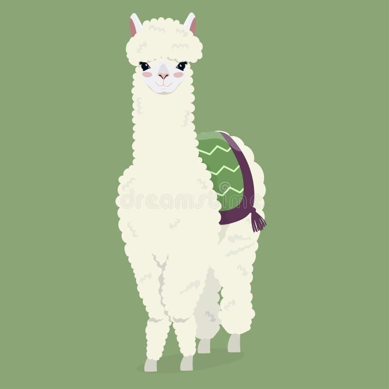 Leuke witte pluizige alpaca op een groene achtergrond Vector beeld stock illustratie