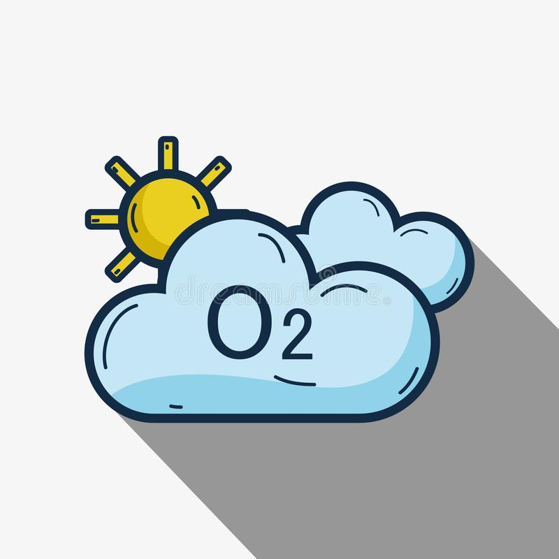Leuke wolken met O2 en zon stock illustratie