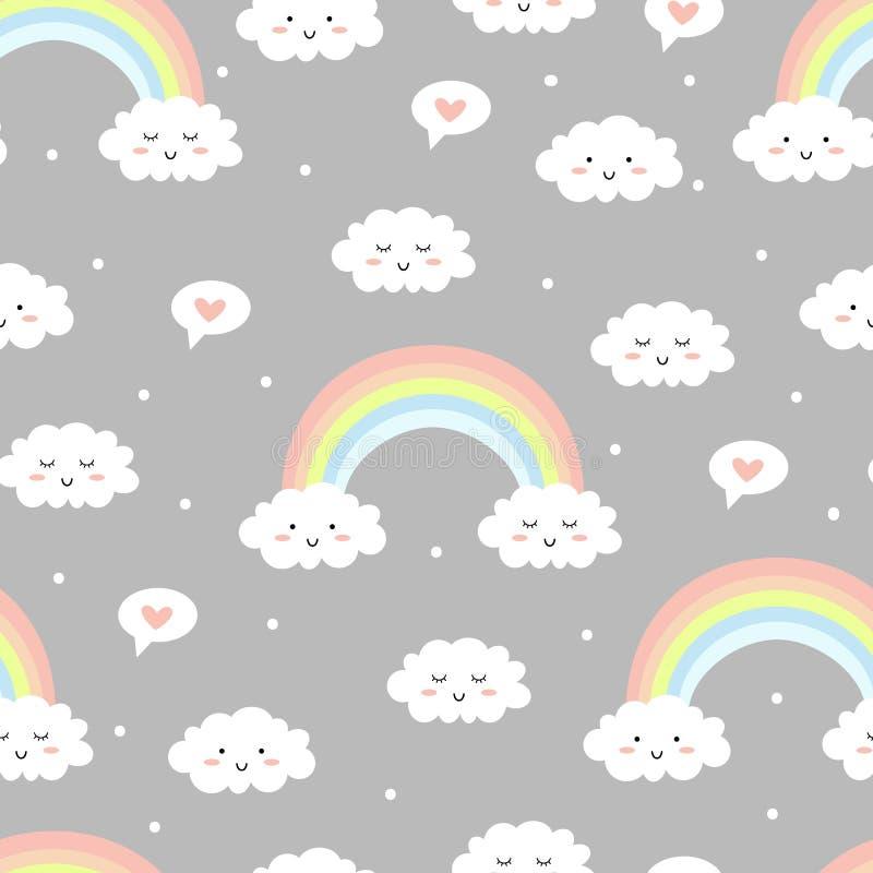 Leuke wolken met regenboog op grijze achtergrond Naadloos patroon stock illustratie