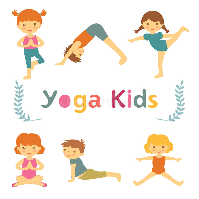 Leuke yogajonge geitjes royalty-vrije illustratie