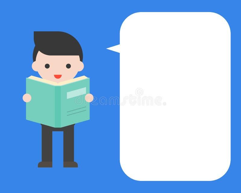 Leuke zakenman die een boek met toespraakbel houden, vlak ontwerp vector illustratie