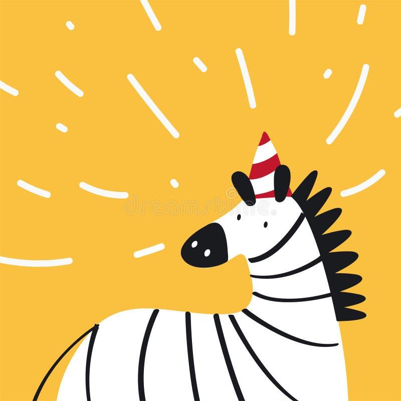 Leuke zebra die een partijhoed in een vector van de beeldverhaalstijl dragen stock illustratie