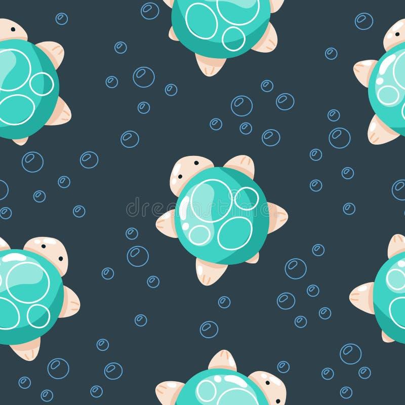 Leuke zeeschildpad, hand getrokken illustraties Naadloos patroon perfect voor verpakkend document, stof, behang achtergrondontwer royalty-vrije illustratie
