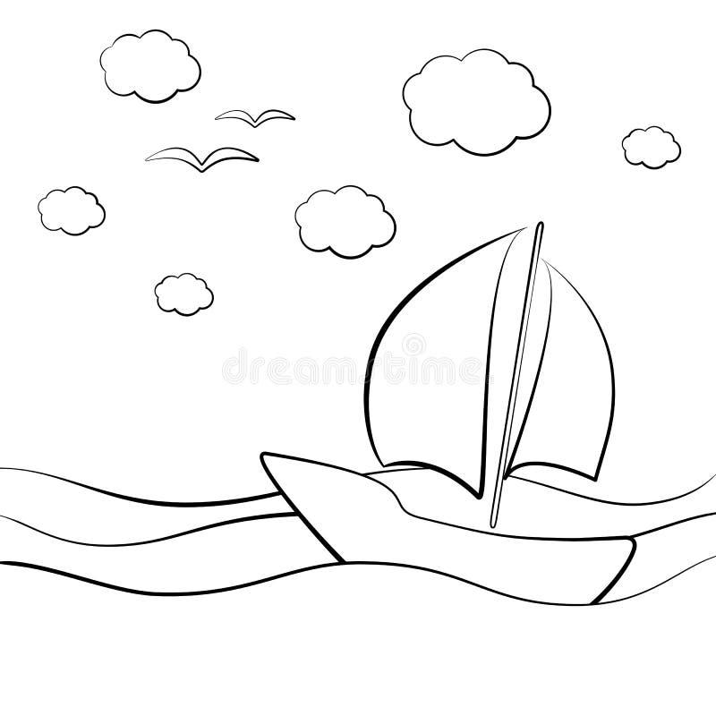 Leuke zeilboot in de overzeese golven; zwart-witte grafische vectorillustratie voor affiches, prentbriefkaaren en kleuringsboeken stock illustratie