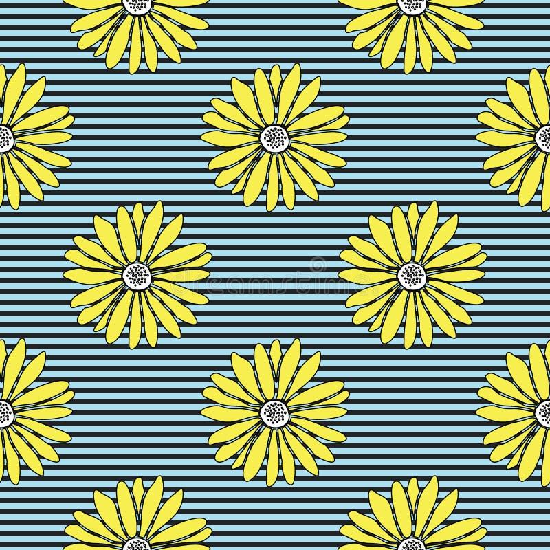 Leuke zomerse hand getrokken gele madeliefjes op een gestreepte achtergrond royalty-vrije illustratie