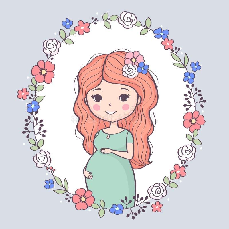 Leuke zwangere vrouw Gelukkig mamma die baby, jonge glimlachende vrouw verwachten die op baby wachten stock illustratie