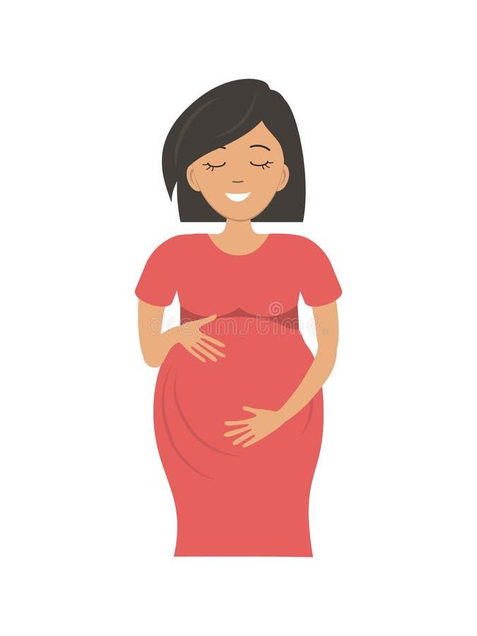 Leuke zwangere vrouw in rode die kleding op een witte achtergrond wordt geïsoleerd royalty-vrije illustratie
