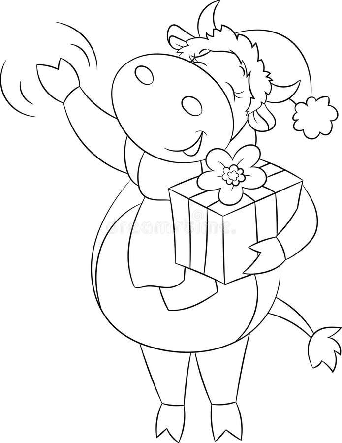 Leuke zwart-witte illustratie van een koe, golven, gekleed voor Kerstmis, die een gift, voor de kleuringsboek van kinderen houden royalty-vrije illustratie