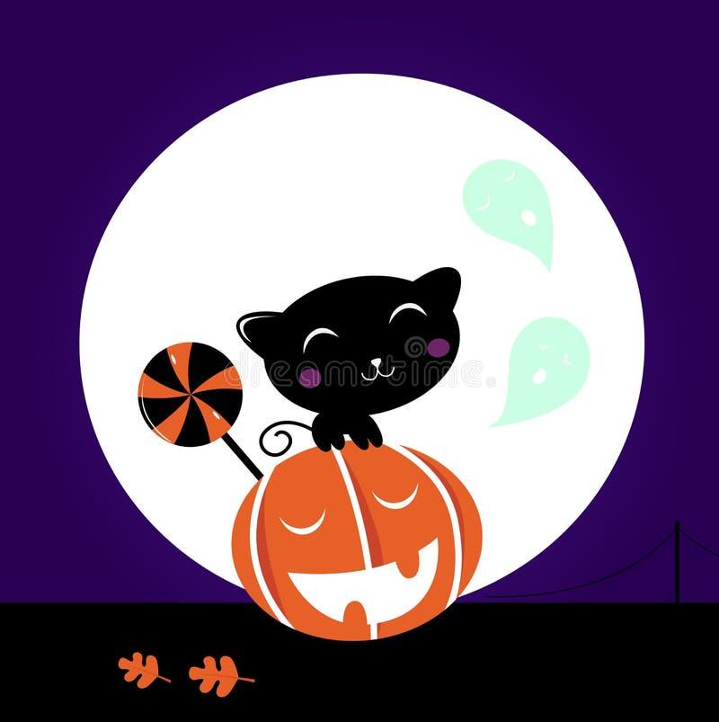 Leuke Zwarte Kat, de hoofd en zoete Lolly van de Pompoen stock illustratie