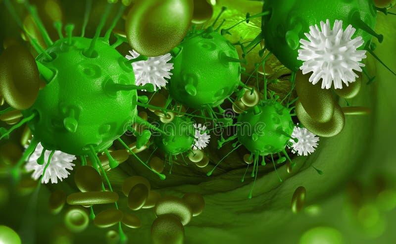 Leukozyten nehmen das Virus im Blut in Angriff Mikroben unter dem Mikroskop Krankheit, Infektion, Entzündung lizenzfreies stockfoto