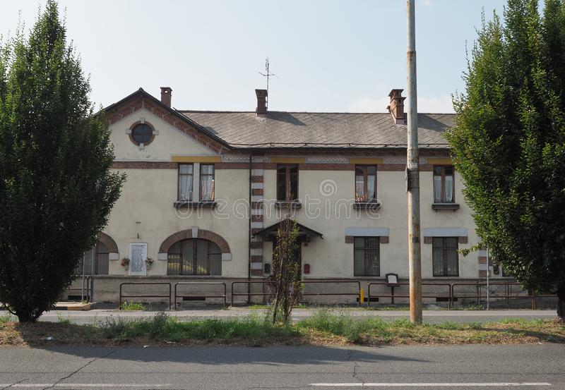 Leumann hotel in Collegno. COLLEGNO, ITALY - CIRCA AUGUST 2019: Hotel at Leumann workers village stock photos