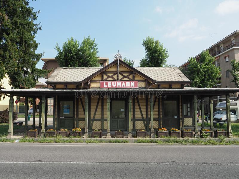 Leumann tram station in Collegno. COLLEGNO, ITALY - CIRCA AUGUST 2019: Tramway Station at Leumann workers village stock photos