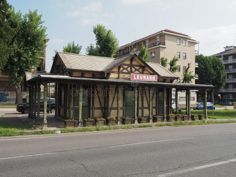 Leumann tram station in Collegno. COLLEGNO, ITALY - CIRCA AUGUST 2019: Tramway Station at Leumann workers village royalty free stock images