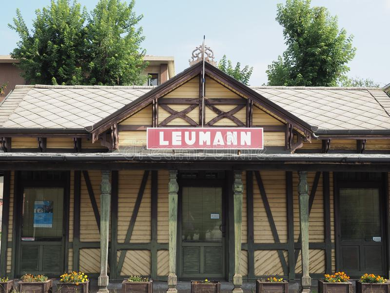 Leumann tram station in Collegno. COLLEGNO, ITALY - CIRCA AUGUST 2019: Tramway Station at Leumann workers village stock photo