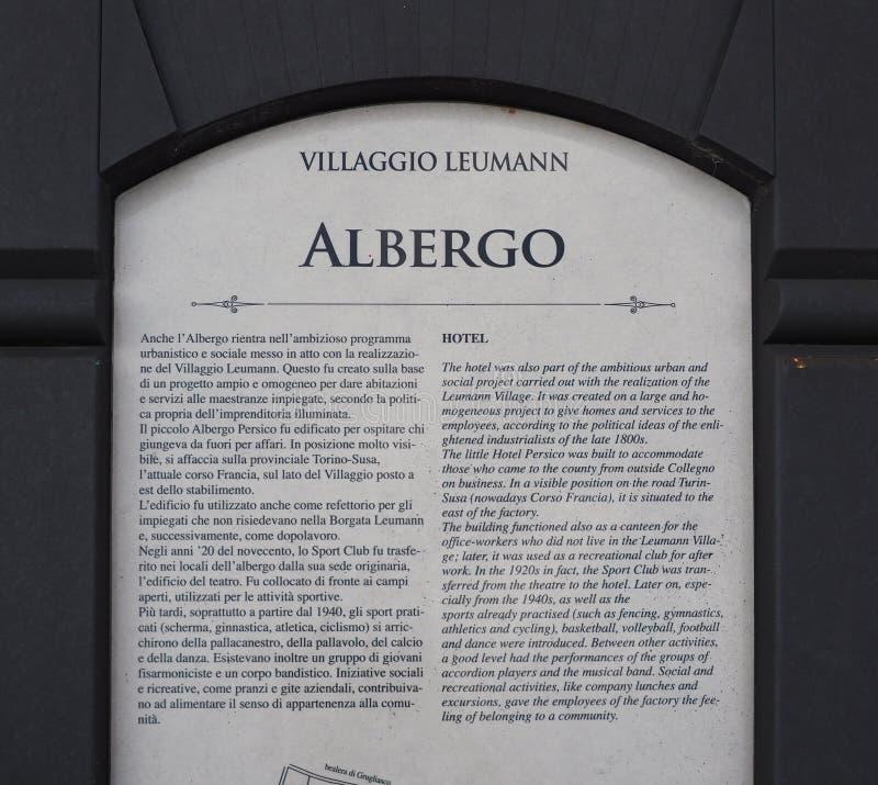 Leumannhotel in Collegno stock afbeelding