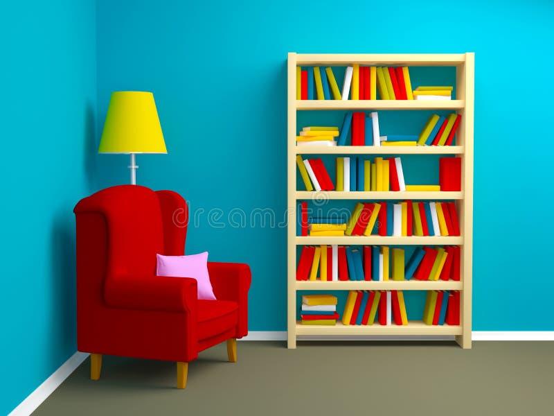 Leunstoel en boekenkast royalty-vrije illustratie