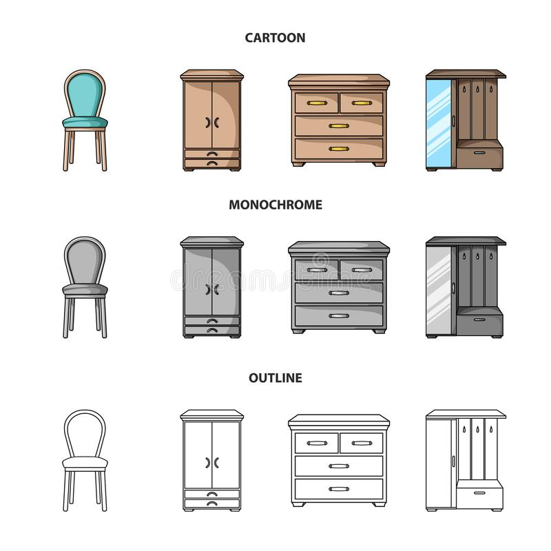 Leunstoel, kabinet, bed, lijst Meubilair en huis interiorset inzamelingspictogrammen in beeldverhaal, overzicht, zwart-wit stijl stock illustratie