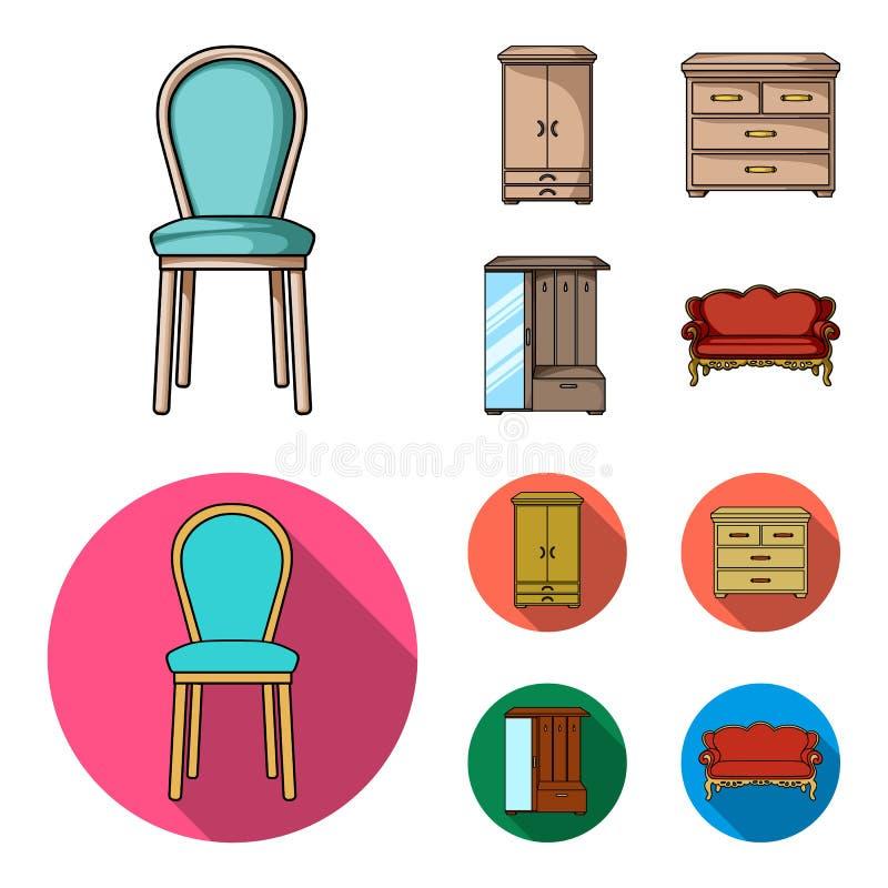 Leunstoel, kabinet, bed, lijst Meubilair en huis interiorset inzamelingspictogrammen in beeldverhaal, vlak stijl vectorsymbool royalty-vrije illustratie