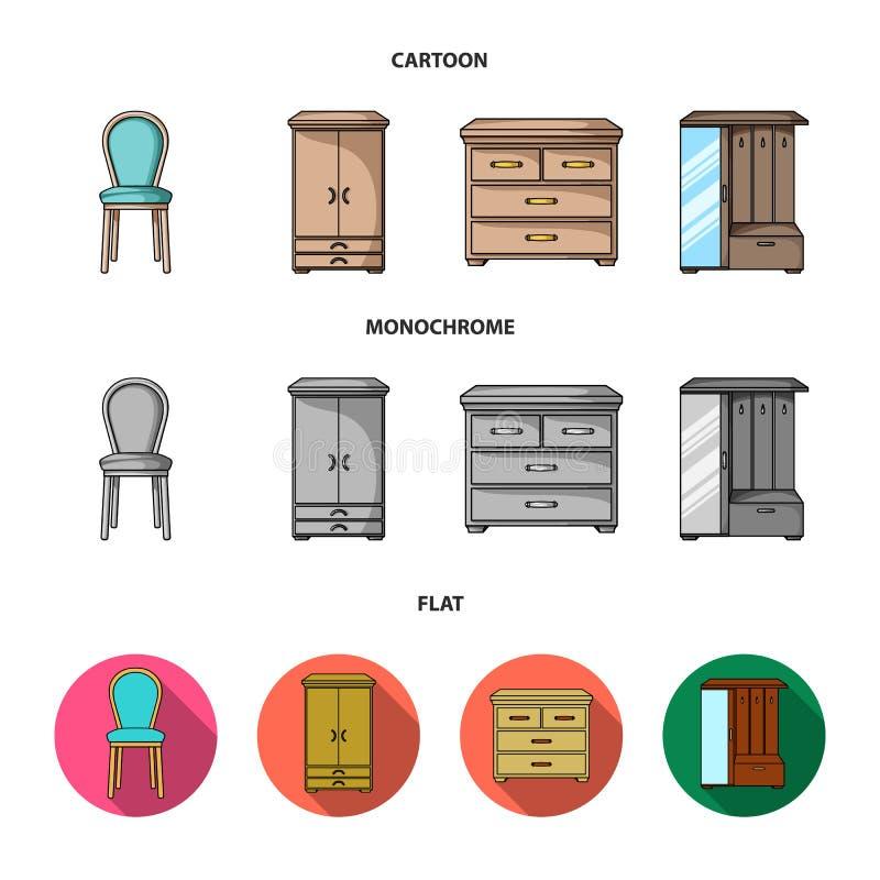 Leunstoel, kabinet, bed, lijst Meubilair en huis interiorset inzamelingspictogrammen in beeldverhaal, vlakke, zwart-wit stijl stock illustratie