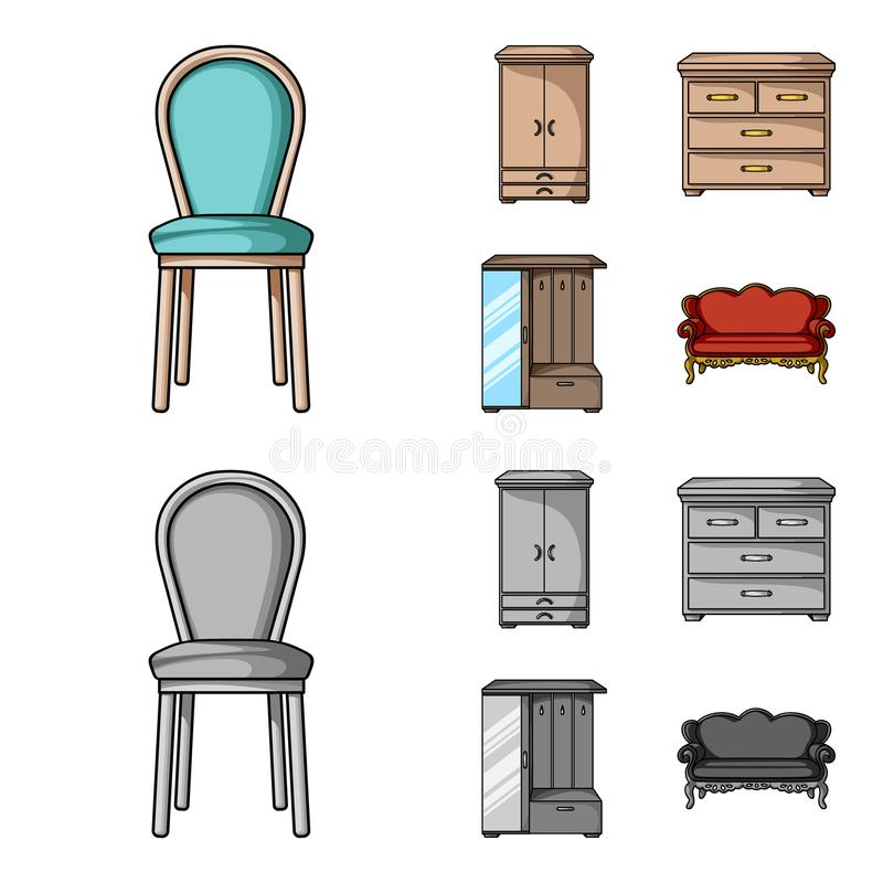 Leunstoel, kabinet, bed, lijst Meubilair en huis interiorset inzamelingspictogrammen in beeldverhaal, zwart-wit stijlvector stock illustratie