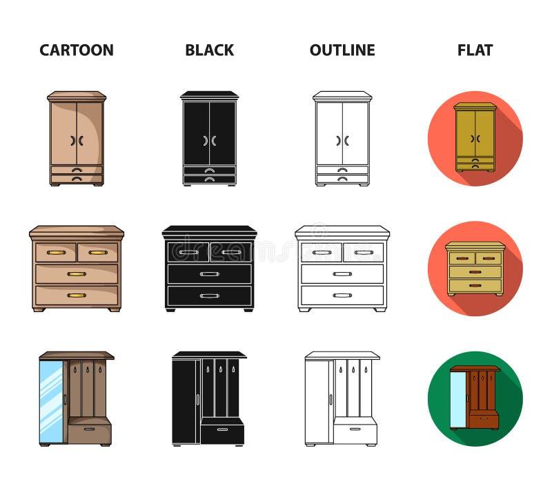 Leunstoel, kabinet, bed, lijst Meubilair en huis interiorset inzamelingspictogrammen in beeldverhaal, zwarte, overzicht, vlakke s royalty-vrije illustratie