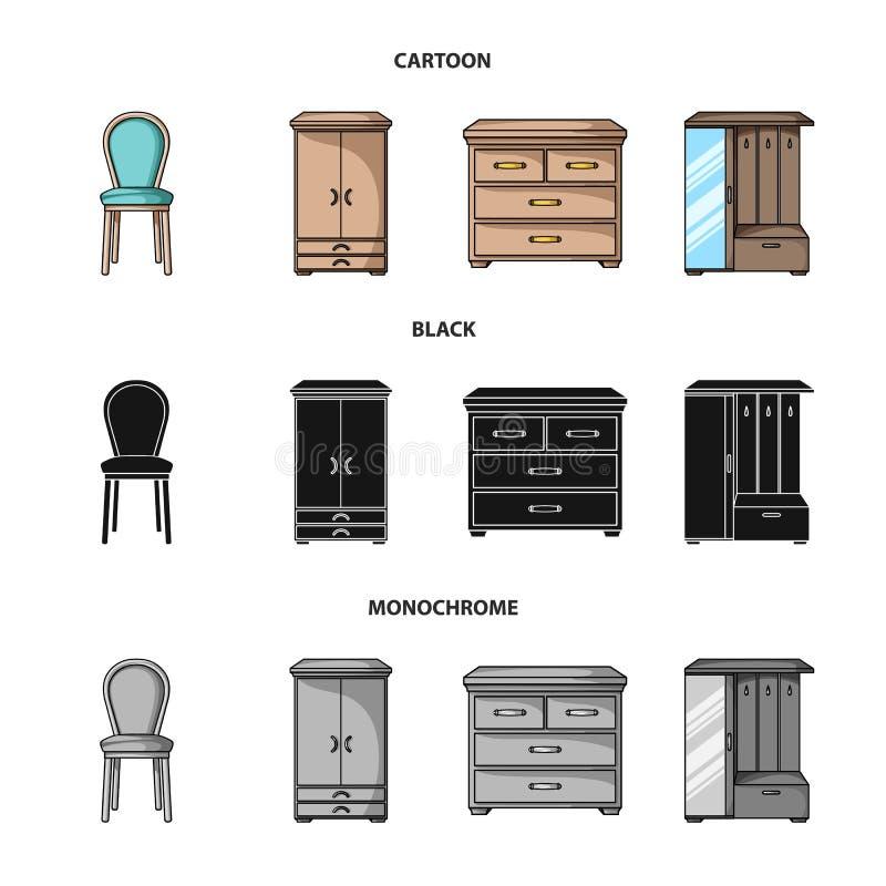 Leunstoel, kabinet, bed, lijst Meubilair en huis interiorset inzamelingspictogrammen in beeldverhaal, zwarte, zwart-wit stijl stock illustratie