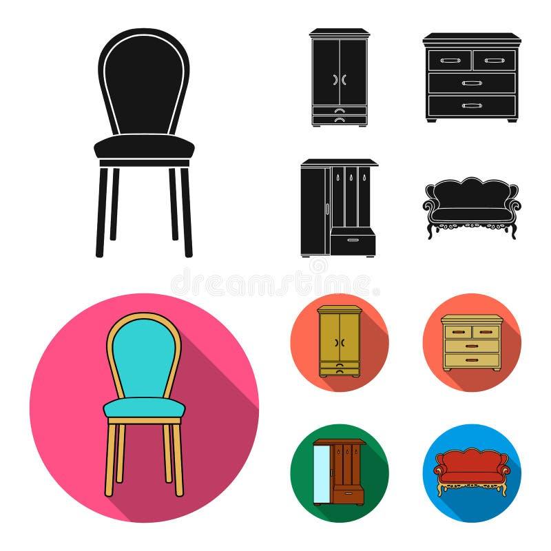 Leunstoel, kabinet, bed, lijst Meubilair en huis interiorset inzamelingspictogrammen in zwart, vlak stijl vectorsymbool stock illustratie