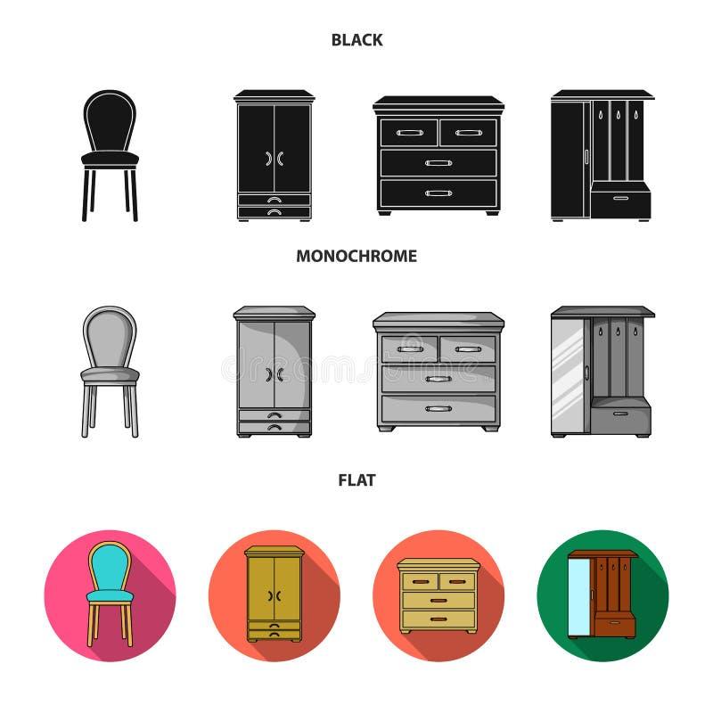 Leunstoel, kabinet, bed, lijst Meubilair en huis interiorset inzamelingspictogrammen in zwarte, vlakke, zwart-wit stijl royalty-vrije illustratie