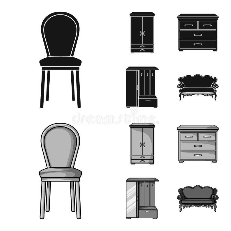Leunstoel, kabinet, bed, lijst Meubilair en huis interiorset inzamelingspictogrammen in zwarte, zwart-wit stijlvector royalty-vrije illustratie