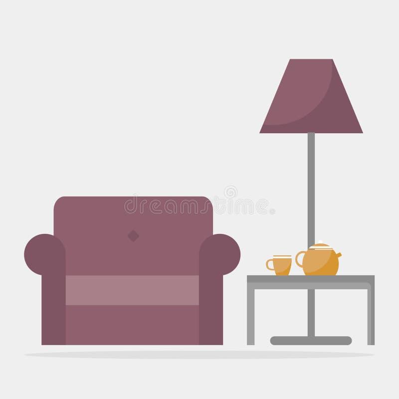 Leunstoel met koffietafel en staande lamp stock illustratie