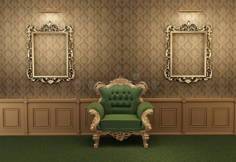 Leunstoel met luxueus kader in barok binnenland stock illustratie