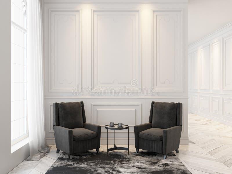 Leunstoelen en koffietafel in klassiek wit binnenland Binnenlandse spot omhoog stock illustratie