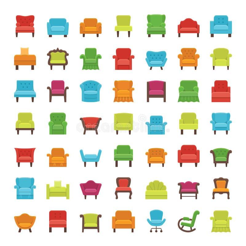 Leunstoelen, zitkamers & recliners Vlakke Pictogrammen Vector illustratie stock illustratie