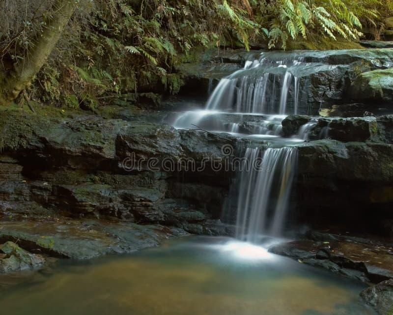 Leura Falls. Cascading falls into rocky pool stock images