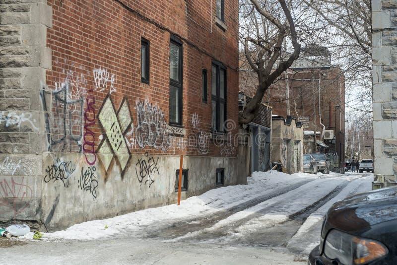 Leurdersteeg Montreal stock afbeeldingen