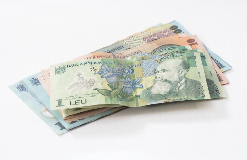 Leus dos Romanian do valor 100, 10 de diversas cédulas e 1 isolados em um fundo branco fotos de stock
