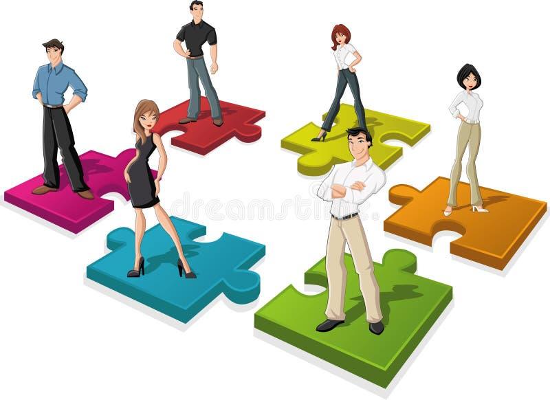 Leute über Puzzlespielstücken lizenzfreie abbildung