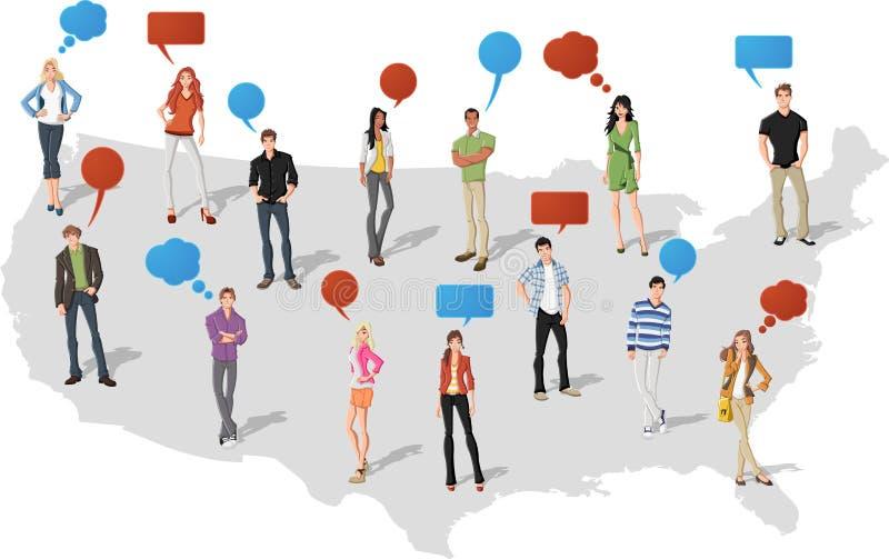 Leute über Staaten- von Amerikakarte lizenzfreie abbildung