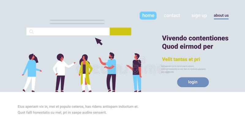 Leute über Suchgrafischem flachem horizontalem Kopienraum on-line-Internet-Grasennetzkonzeptwebsite WWW-Stange lizenzfreie abbildung