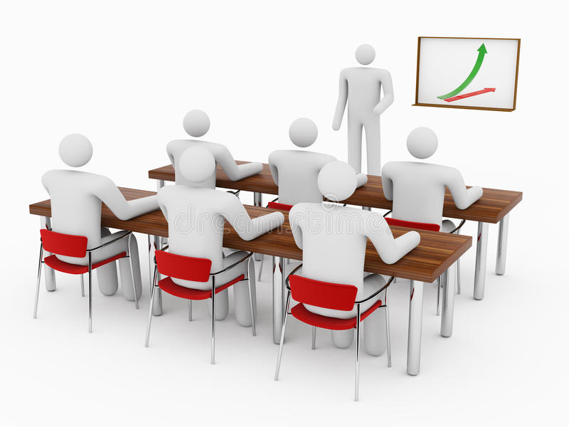 Leute 3D im Klassenzimmer lizenzfreie abbildung