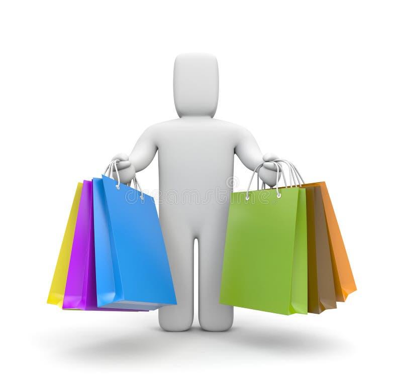 Leute 3d mit Lot Einkaufenbeuteln stock abbildung