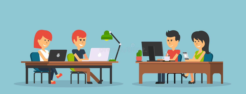 Leute-Arbeit im Büro-Design flach lizenzfreie abbildung