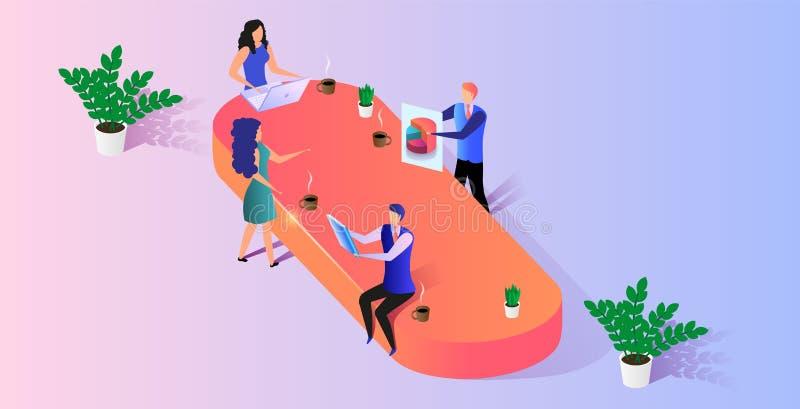 Leute arbeiten zusammen an Geschäfts-Projekt im Büro stock abbildung