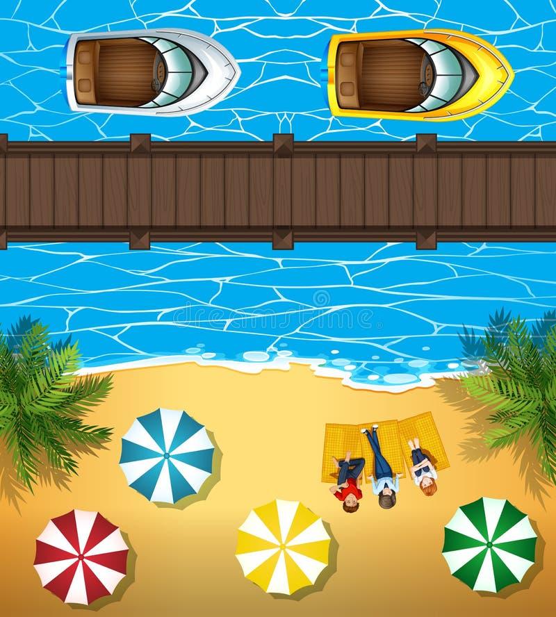 Leute auf dem Strand und den Booten im Meer vektor abbildung
