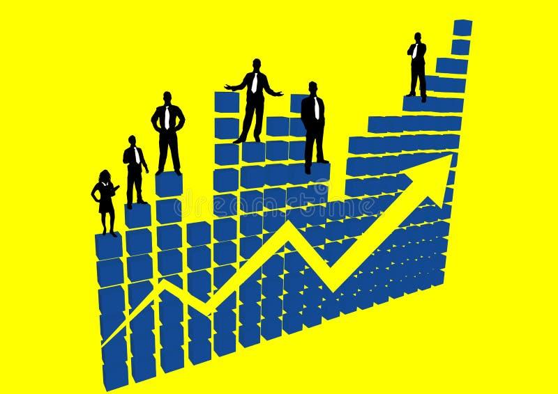 Leute auf einem Diagramm des Erfolgs stock abbildung