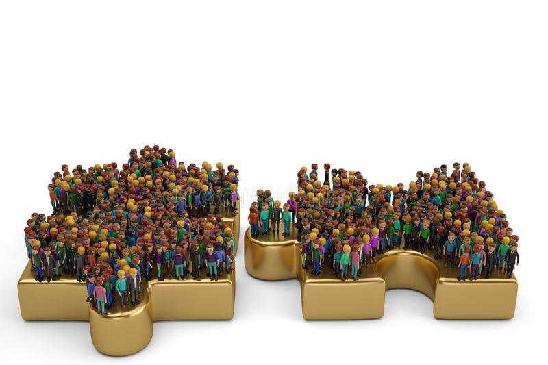 Leute auf einem großen goldenen Puzzlespiel Abbildung 3D lizenzfreie abbildung